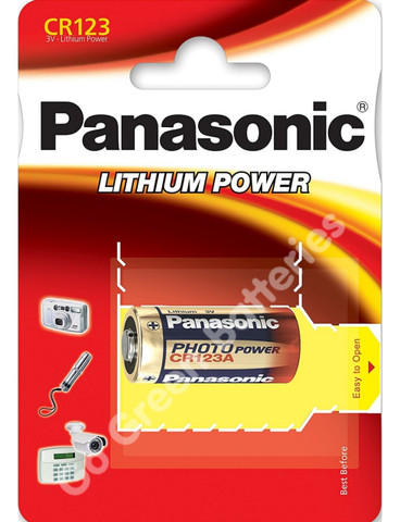 Panasonic CR123 3 Volt Lithium Photo Battery (123, CR123A DL123A). 1 Pack