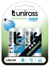 Uniross Performance AA 2600 mAh NiMH Rechargeable Batteries. 4 Pack
