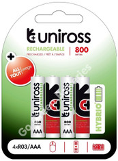 Uniross Hybrio AAA 800 mAh NiMH Rechargeable Batteries, Pre Charged. 4 Pack