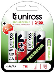 Uniross Hybrio AA 2400 mAh NiMH Rechargeable Batteries, Pre Charged.  4 Pack
