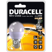 Duracell E27 4 Watt Mini Globe LED Bulb. 250 Lumens (Frosted/Warm White)