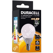 Duracell E14 3.7 Watt Mini Globe LED Bulb. 240 Lumens (Frosted/Warm White)