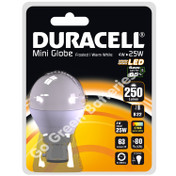 Duracell B22 4 Watt Mini Globe LED Bulb. 250 Lumens (Frosted/Warm White)