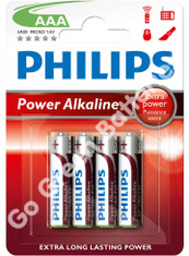 Philips AAA Power Alkaline Batteries (LR03, MX2400) 4 Pack