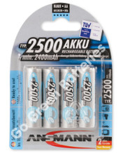 Ansmann AAA 2500 mAh RTU Stay Charged NiMH Rechargeable Batteries 4 Pack