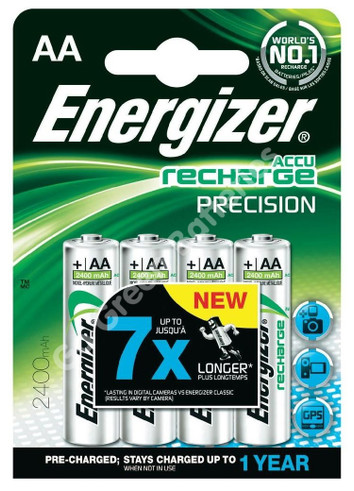 Energizer Precision 2400 AA pre-charged, ready to use rechargeable battery 4 pack