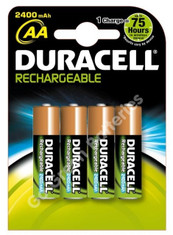 Duracell AA 2400 mAh NiMH Rechargeable Batteries. 4 Pack