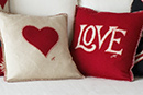 Love and Hearts hand-embroidered cushions