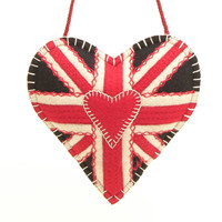 Union Jack lavender bag, red, black and cream wool
