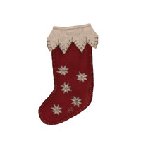 Small snowflake red Christmas stocking decoration, wool, hand-embroidered
