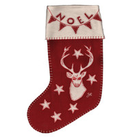 Stag Noel Christmas stocking, red and cream wool, hand-embroidered