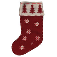 Designer Christmas tree stocking, red and cream wool, hand-embroidered
