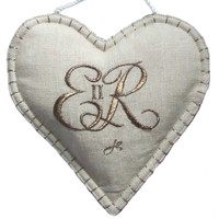Queen Elizabeth II lavender heart bag, cream linen, hand-embroidered