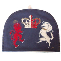 Lion and Unicorn Tea Cosy, Royal, navy blue wool