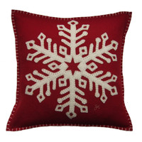 Star snowflake Christmas hand-embroidered cushion, red wool