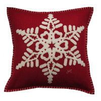 Red fretwork snowflake cushion, Christmas collection, hand-embroidered