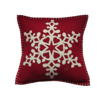 Small Snowflake cushion, Christmas collection, red and cream wool