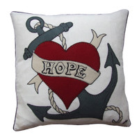 Hope anchor linen cushion, red heart, linen, hand-embroidered