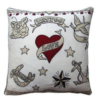 Tattoo Love cushion, linen, lucky, red heart