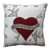 Faith Hope Love cushion, linen, red heart, birds and stars