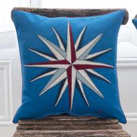 Compass cushion, cobalt blue, linen, seaside collection