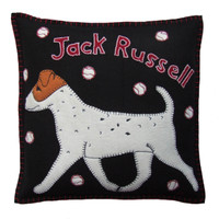 Jack Russell dog cushion, hand-embroidered