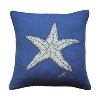 Small star fish cushion, blue, linen, hand-embroidered