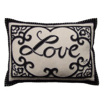 China Black Love Cushion - Linen