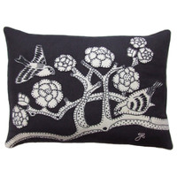 Love Birds Black Cushion - Linen