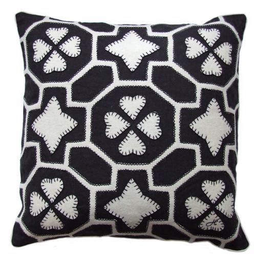China black fretwork cushion