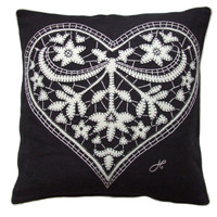 China black lacy heart cushion