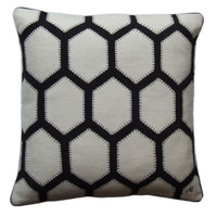 Archipatch collection, grey black and cream, hexagon cushion
