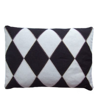 Harlequin cushion, cream and black
