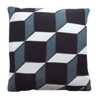 Classic cube cushion, black grey and cream