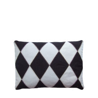 Small Harlequin Cushion, black and cream