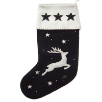Flying reindeer and stars Christmas stocking, black and cream wool