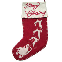 Santa's sleigh Merry Christmas stocking, red and cream wool