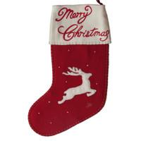 Reindeer Christmas stocking, red wool
