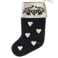 Folklore heart Christmas stocking, black and cream wool