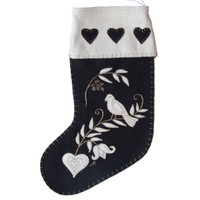 Birds and tree Christmas stocking, hearts, black and cream wool, hand-embroidered