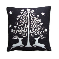 Deers and tree Christmas cushion, black and cream linen, hand-embroidered