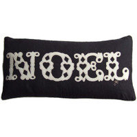 Noel cushion, Christmas collection, black linen and cream wool