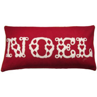Noel cushion, Christmas collection, red and cream wool