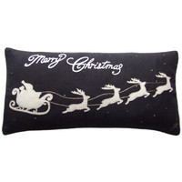 Santa's Sleigh Cushion (Black)