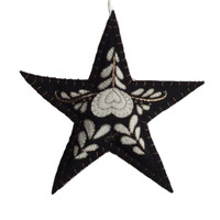 Romany tree star Christmas decoration, black and cream wool, hand-embroidered