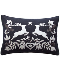 Jumping deers cushion, Christmas collection, black linen, cream wool