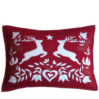 Jumping deers designer cushion, Christmas collection, red and cream wool
