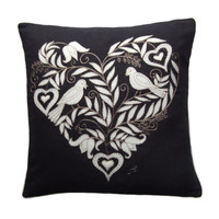 birds and heart cushion, hand-embroidered, black linen