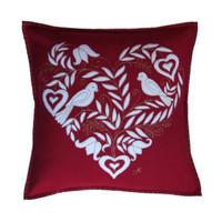 Birds and heart cushion, cream and red, wool, hand-embroidered