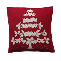 Designer folklore tree cushion, Christmas collection, red linen. Hand-embroidered.